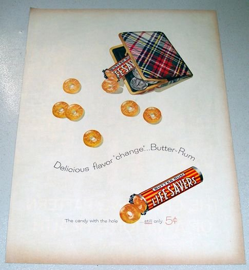 1958 Life Savers Art Buffalo Nickel Coin Purse Color Print Candy Ad