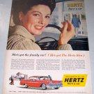1958 Hertz Rent A Car Color Print Ad Happy Wife