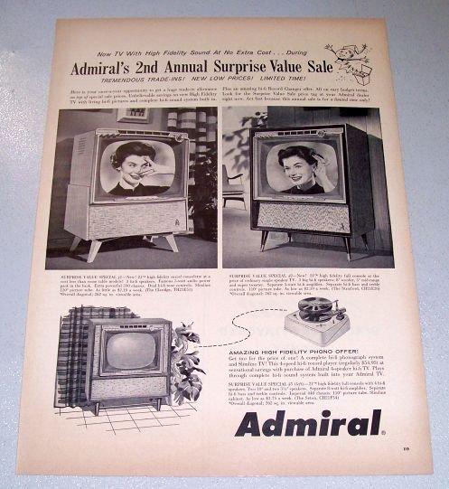 1958 Admiral TV Claridge Stratford Seton Televisions Print Ad