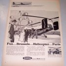 1958 Sabena Belgian Airlines Vertol 44 Helicopter Print Ad
