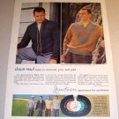 1960 Jantzen Chain Mail Knits Frank Gifford Bob Cousy Color Print Ad