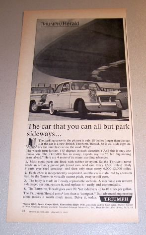 1960 British Triumph Herald Automobile Print Car Ad