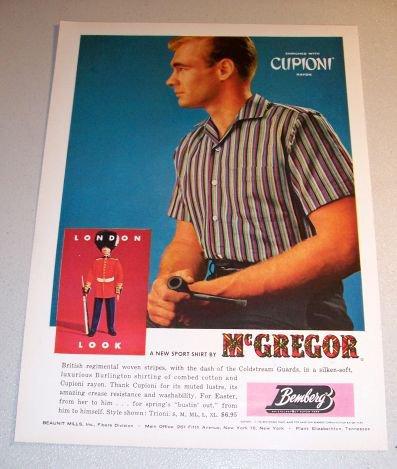 McGregor Cupioni Rayon Sport Shirt 1961 Color Print Ad