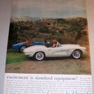 1961 Chevrolet Corvette Automobile Color Print Car Ad