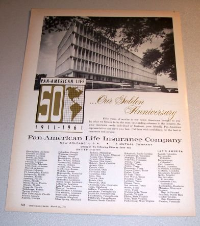 Pan American Insurance Company Golden Anniversary 1961 Print Ad