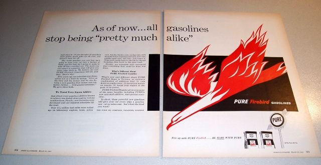 Pure Firebird Gasolines 1961 Print Gas Ad