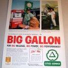 Cities Service Gasoline 1961 Color Print Gas Ad Big Gallon