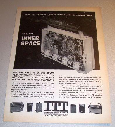 ITT 3 Band Portable Transistor Radio 1962 Print Ad