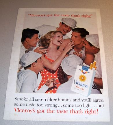 Viceroy Cigarettes 1962 Color Print Tobacco Ad