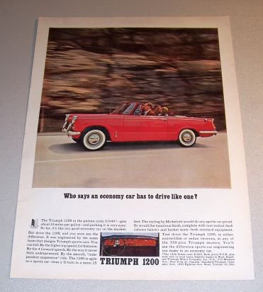 1962 Triumph 1200 Convertible Sports Car Automobile Color Print Ad