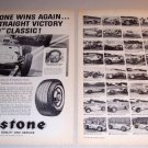 1962 Firestone Tires 2 Page Automobile Print Ad Indy 500 Driver Rodger Ward