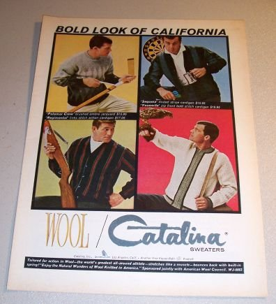 1963 Catalina Sweaters Sports Themed Color Print Ad