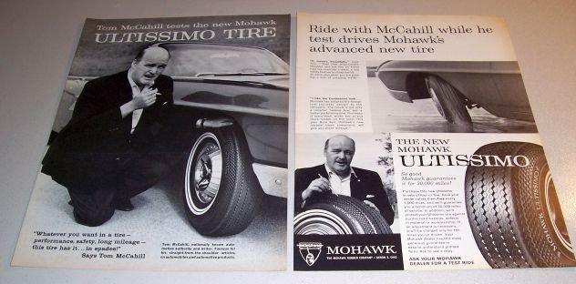 1963 Mohawk Ultissimo Tires Print Ad Tom McCahill