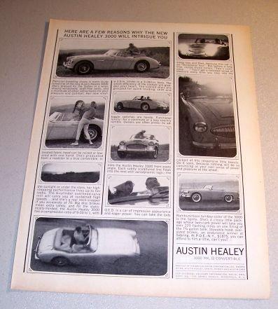 1963 Austin Healey 3000 MK II Convertible Automobile Print Car Ad