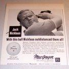 1963 Print Ad Macgregor DX Tourney Golf Balls PGA Golfer Jack Nicklaus