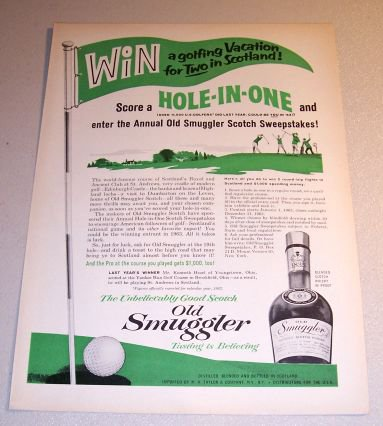 1963 Old Smuggler Scotch Whiskey Golf Themed Print Ad