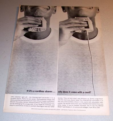 1963 Remington Lektronic II Cordless Shaver Print Ad