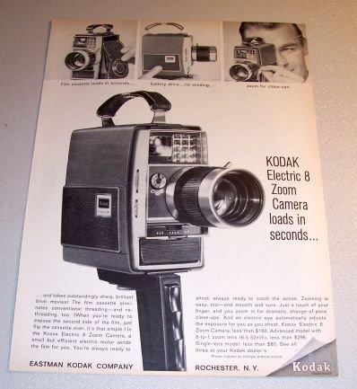 1964 Eastman Kodak Electric 8 Zoom Camera Print Ad