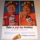 1964 Schlitz Beer Pop Top Holiday Color Print Brewery Ad
