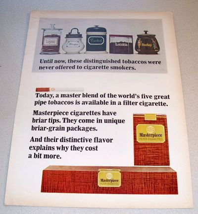 1965 Masterpiece Cigarettes Color Print Ad