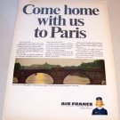 1965 Air France Airlines Color Print Ad The Seine Paris
