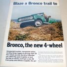 1966 Ford Bronco Roadster Utility Wagon 2 Page Color Print 1965 Ad