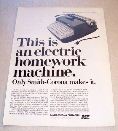 1965 Smith Corona Electra 110 Typewriter Print Ad
