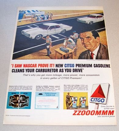 1965 Citgo Service Gasoline Color Print Ad Celebrity Ed McMahon Bridgehampton Road Track