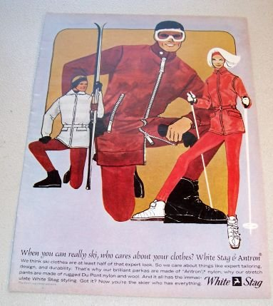 1965 White Stag Ski Clothing Retro Art Color Print Ad