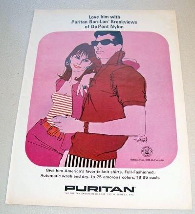 1965 Puritan Ban Lon Brookviews Clothing Color Art Print Ad