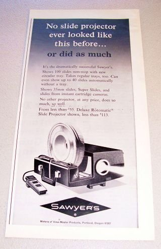 1965 Sawyers Rotomatic Slide Projector Print Ad