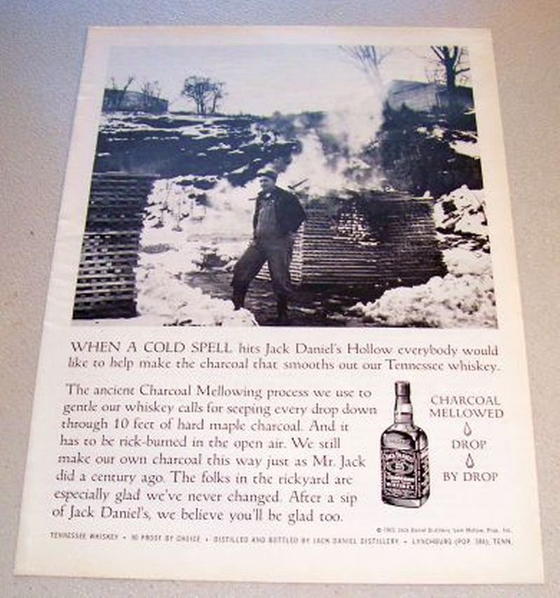 1965 Jack Daniels Whiskey Hollow Charcoal Mellowing Print Ad