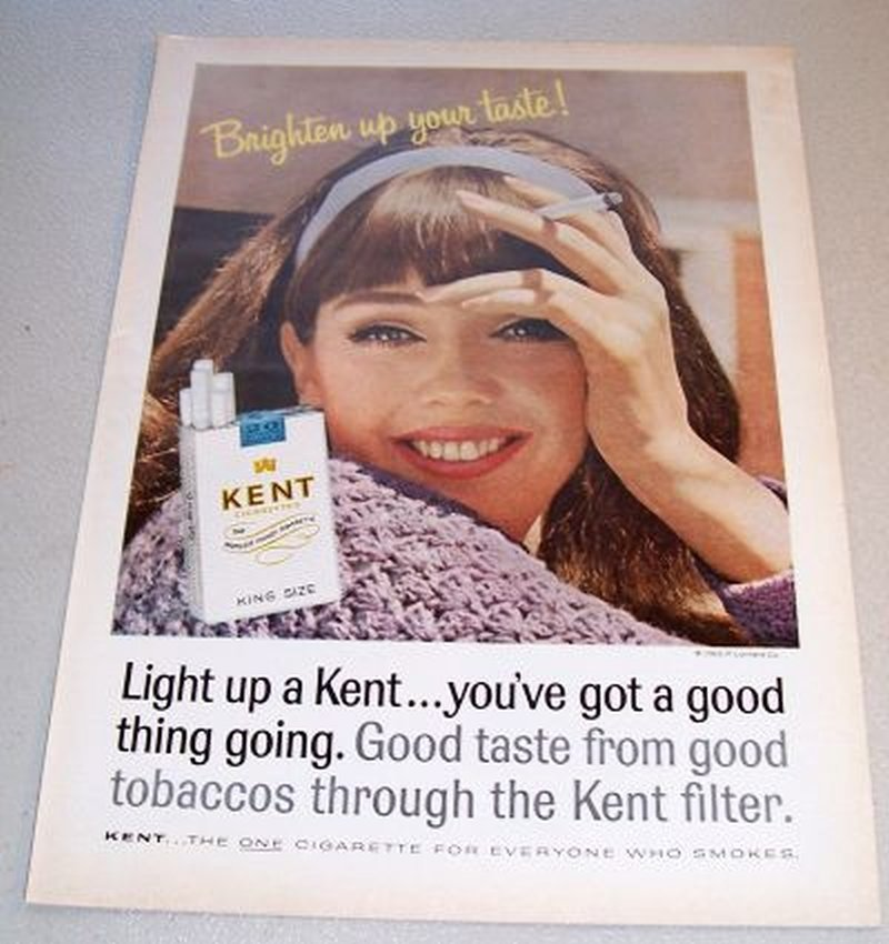 1965 Kent King Size Cigarettes Color Print Ad Woman Smoking