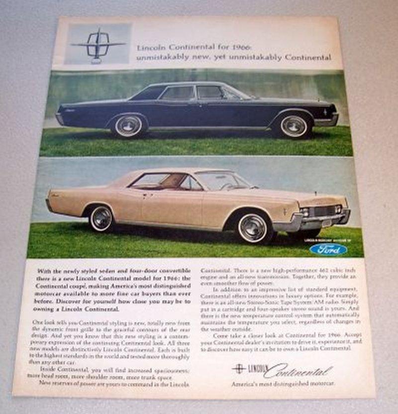 1966 Lincoln Continental Automobile Color 1965 Print Car Ad