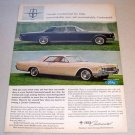 1966 Lincoln Continental Automobile Color 1965 Print Car Ad