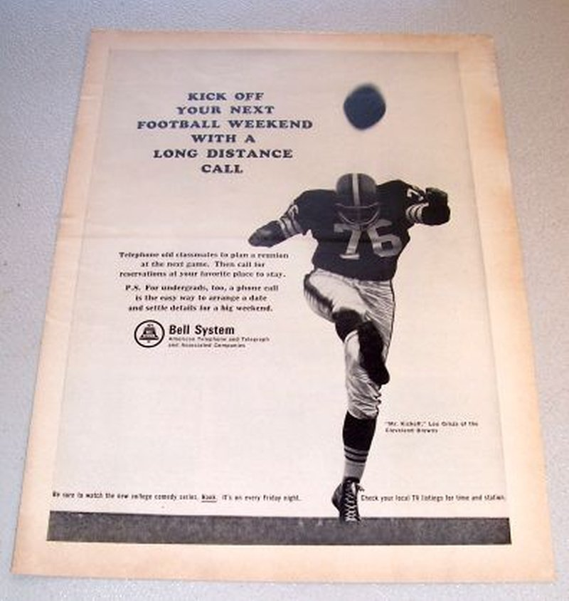1965 Bell System Telephone Print Ad Lou Groza Cleveland Browns Football