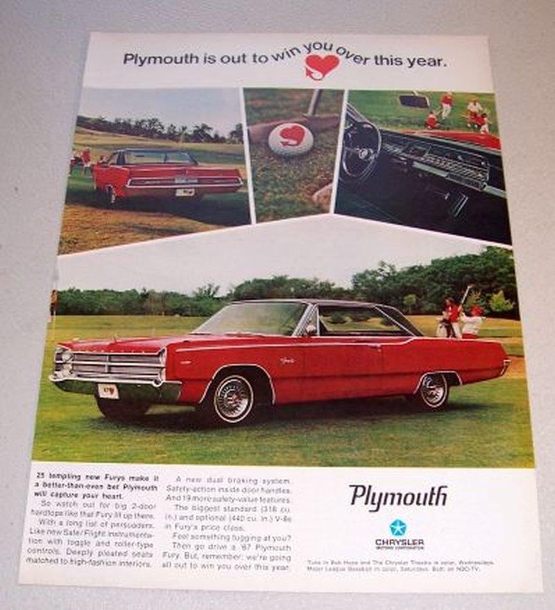 1967 Plymouth Fury III Automobile Color Print Car Ad