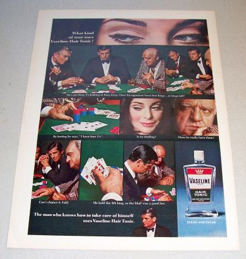 1967 Vaseline Hair Tonic Poker Cards Themed Color Print Ad