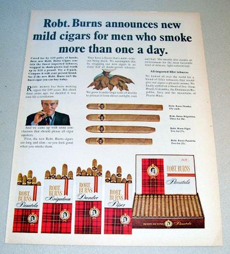 1967 Robt. Burns Mild Cigars Color Print Tobacco Ad