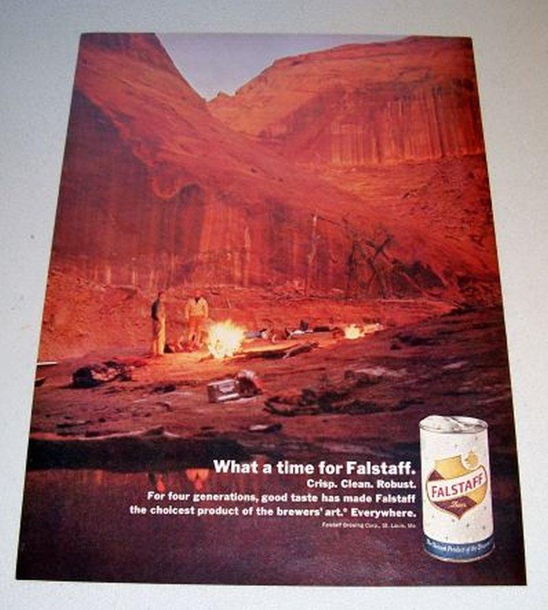 1967 Falstaff Beer Color Print Ad Canyon Camping