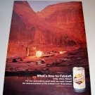 1967 Falstaff Beer Color Print Ad Canyon Camping