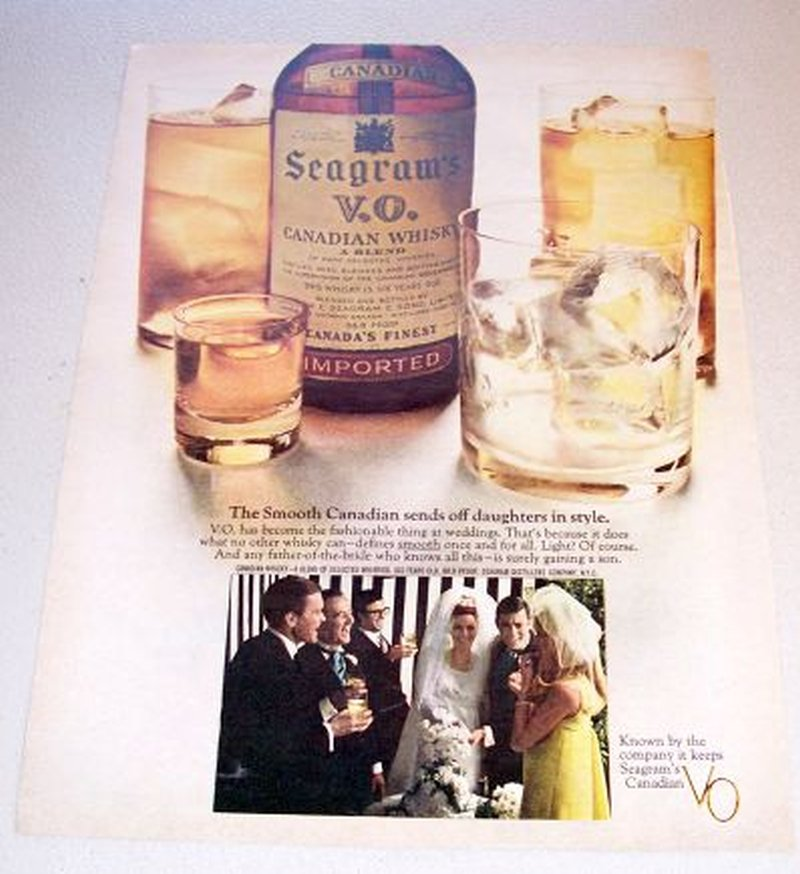 1967 Seagrams VO Canadian Whiskey Wedding Themed Color Print Ad