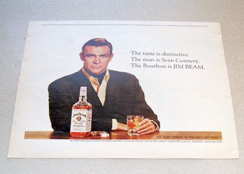 1967 Jim Beam Whiskey Color Print Ad Celebrity Sean Connery 007 James Bond