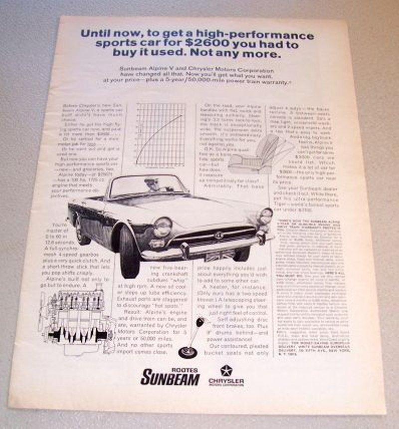 1967 Chrysler Sunbeam Alpine V Automobile Print Car Ad
