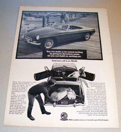 1967 MGB Roadster Convertible Automobile Print Car Ad