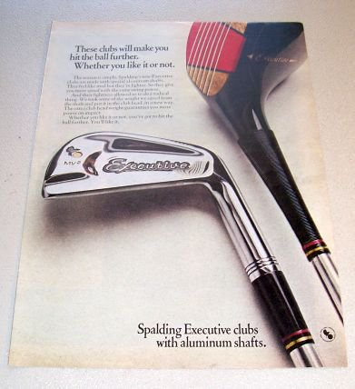 1969 Spaulding Executive Golf Clubs Color Print Ad