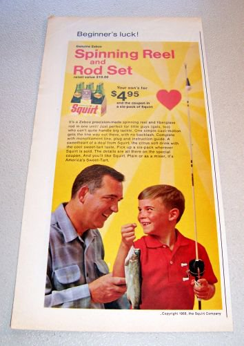 1969 Squirt Soda Zebco Fishing Reel Rod Offer Color Print Ad
