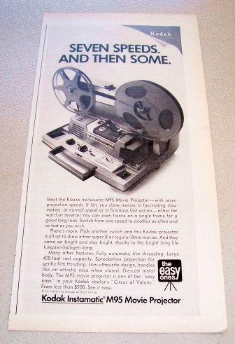 1969 Kodak Instamatic M95 Movie Projector Print Ad