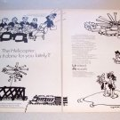 1969 United Aircraft Lou Meyers Sketch Art 2 Page Print Ad