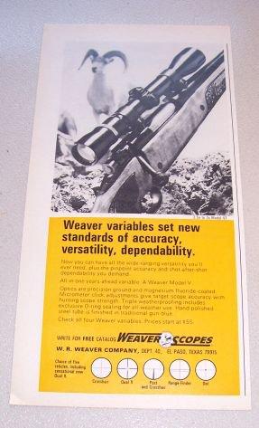1969 Weaver Model V7 Rifle Scope Print Ad